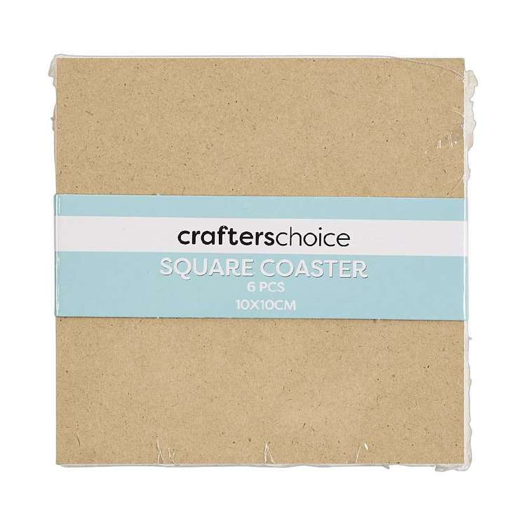 Crafters Choice MDF Coaster Square 6 Pack Natural 10 x 10 cm