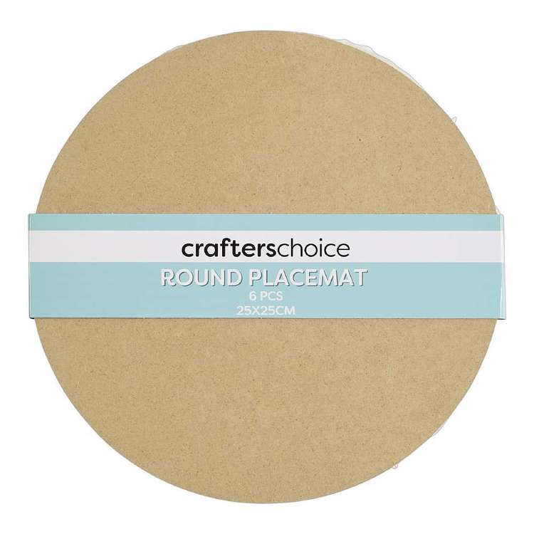 Crafters Choice Round MDF Placemat Square 6 Pack Natural 25 cm