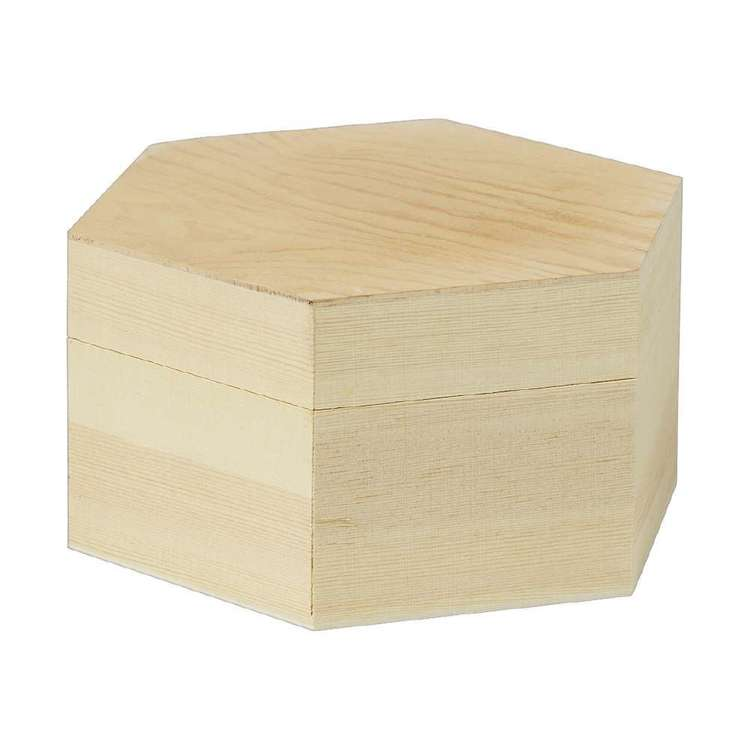 Crafters Choice Timber Hexagon Box Natural 18 x 18 x 9 cm