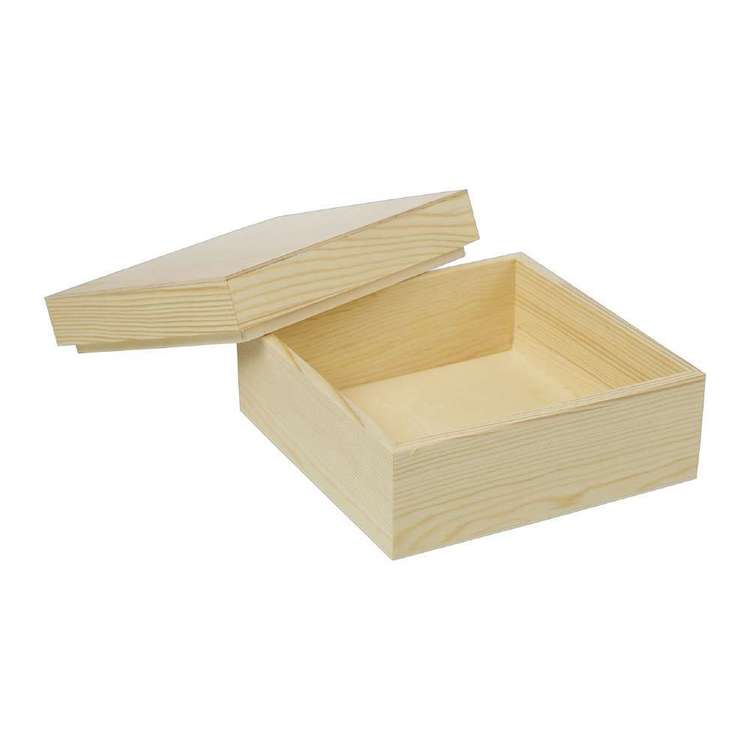 Crafters Choice Timber Square Box Natural 18 x 18 x 9 cm