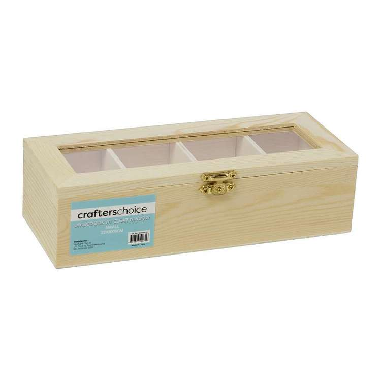 Crafters Choice Divided Timber Box With Window