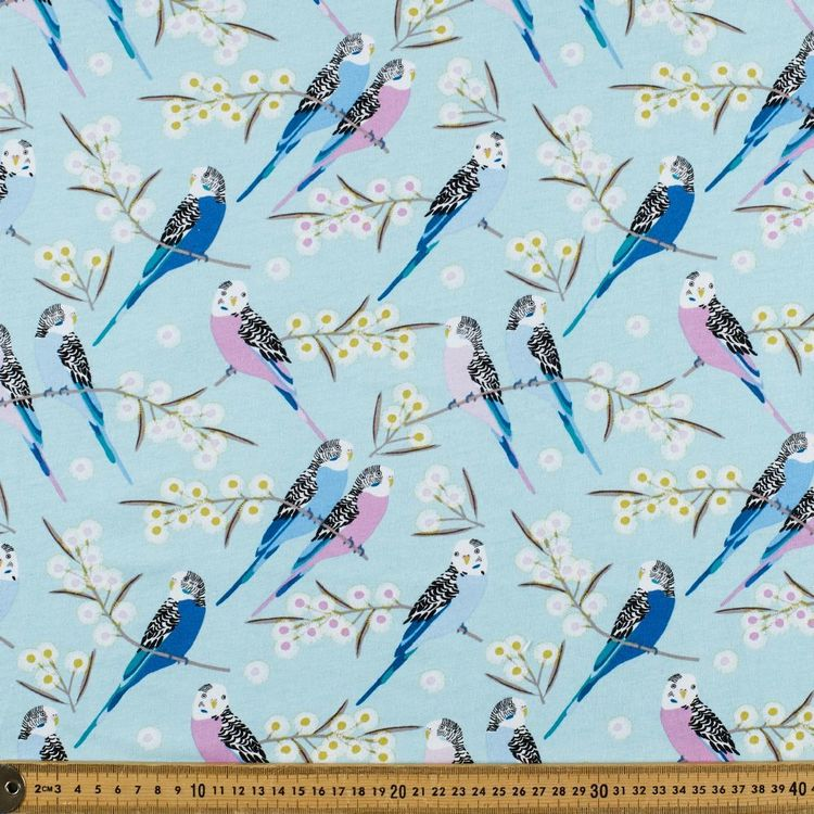 Jocelyn Proust Budgie Snugglers Printed 112 cm Organic Cotton Jersey Fabric