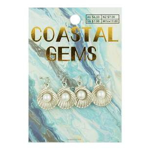 Coastal Clam With Pearl Charms 4 Pack