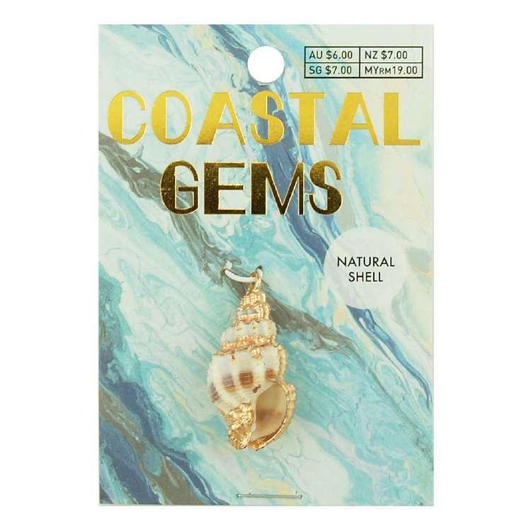 Coastal Spiral Shell Charm Gold Dip