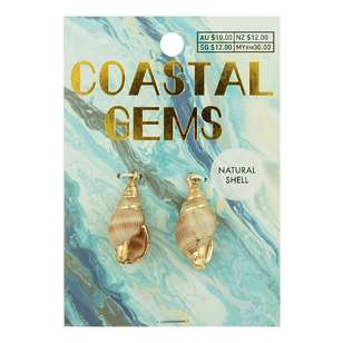 Coastal Spiral Shell Charm With Gold 2 Pack