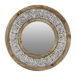 Living Space Wooden Etched Circle Mirror