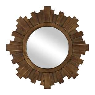 Living Space Detailed Circle Wooden Mirror