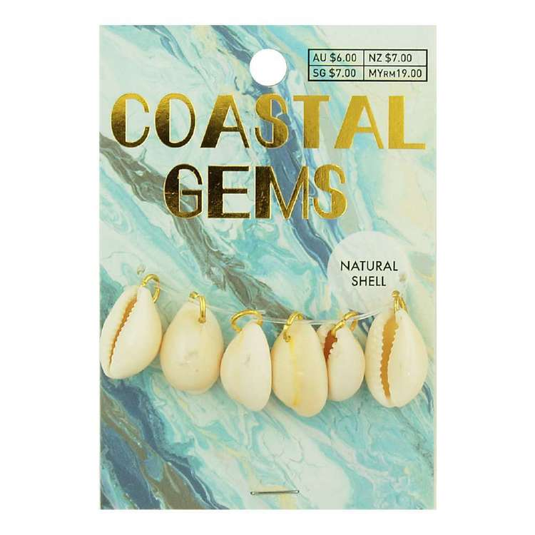 Coastal Cowrie Shell Charms 6 Pack Natural 15 mm