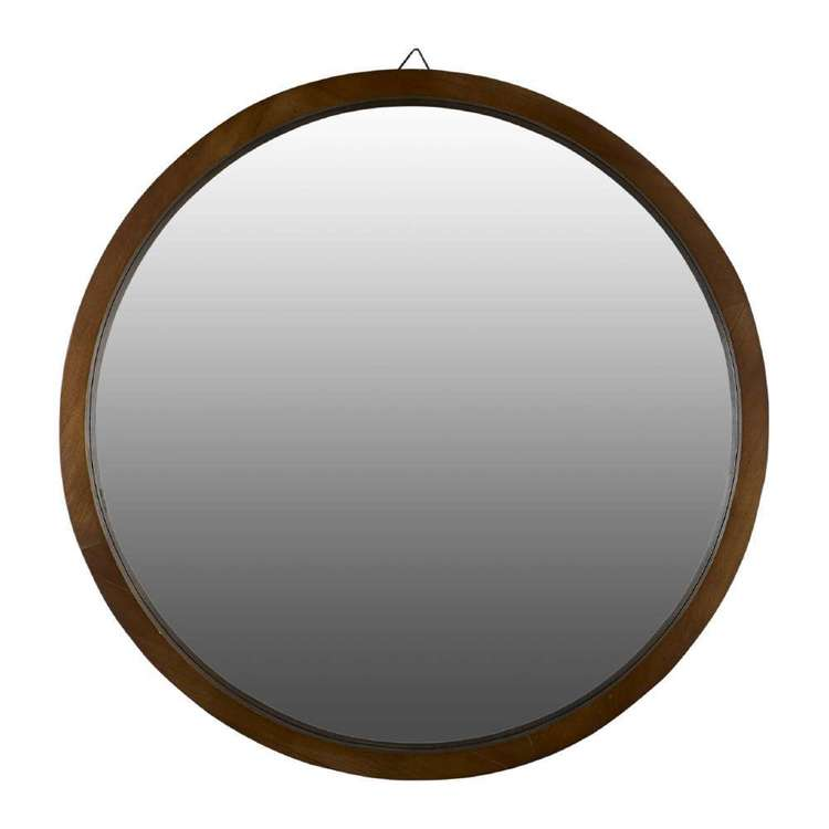 Living Space Circle Wooden Mirror