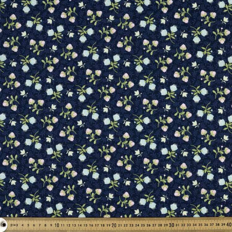 Studio E Boho Blooms Tossed Floral Cotton Fabric Blue 112 cm