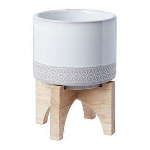 Living Space Ceramic Planter Pot With Stand
