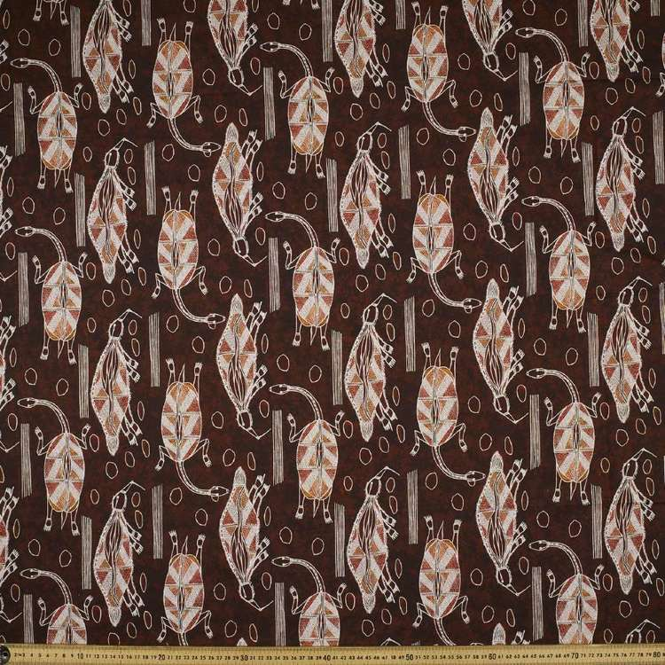 Australiana Indigenous Isaiah Turtle Echidna Cotton Fabric