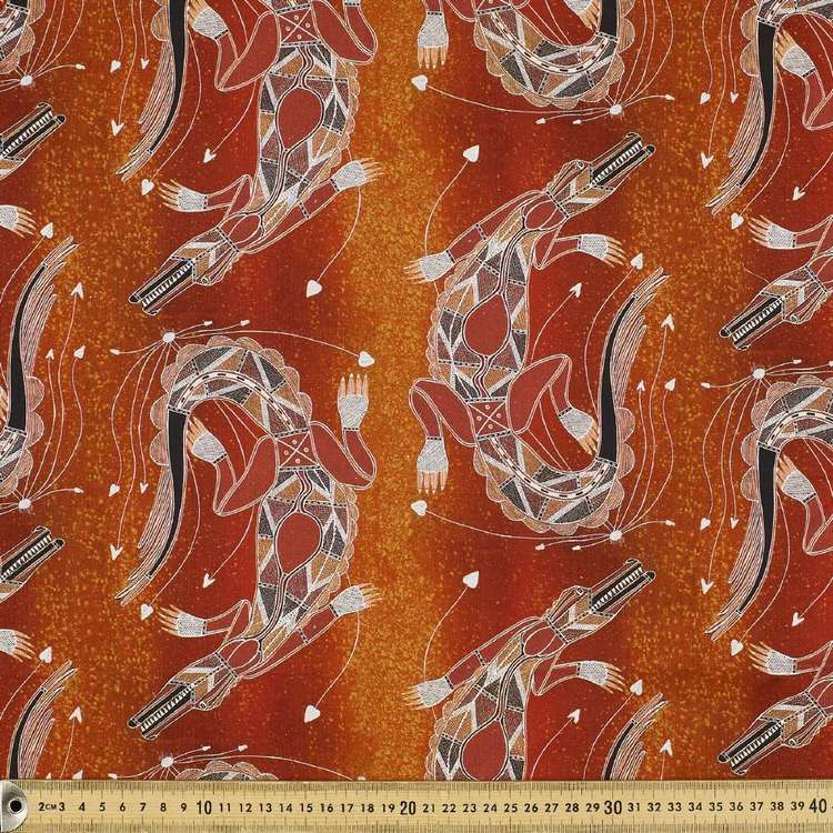 Australiana Indigenous Isaiah Crocodile Cotton Fabric