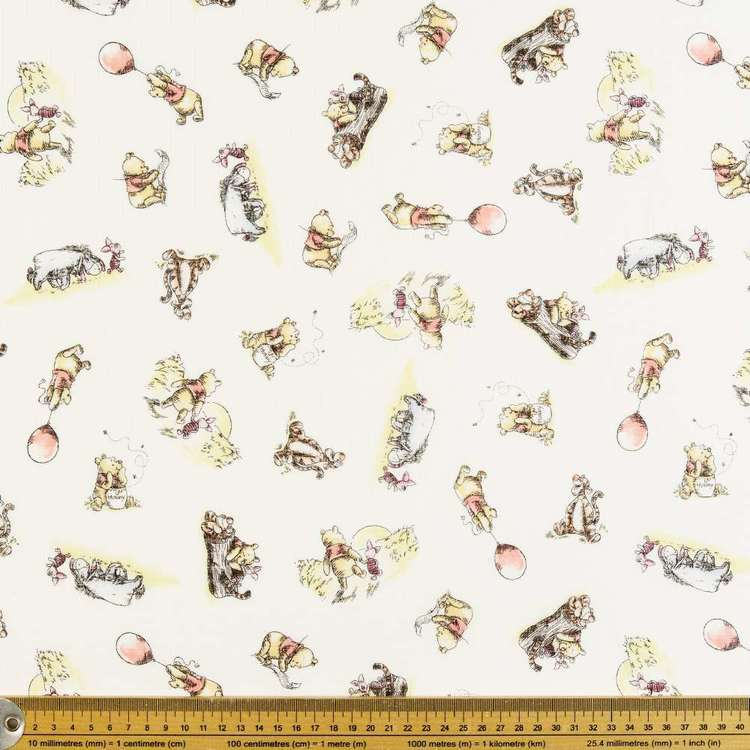 Winnie The Pooh Exploring Double Muslin Fabric