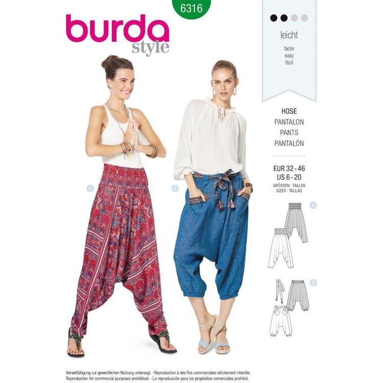 Burda Style Pattern 6316 Misses' Harem Pant