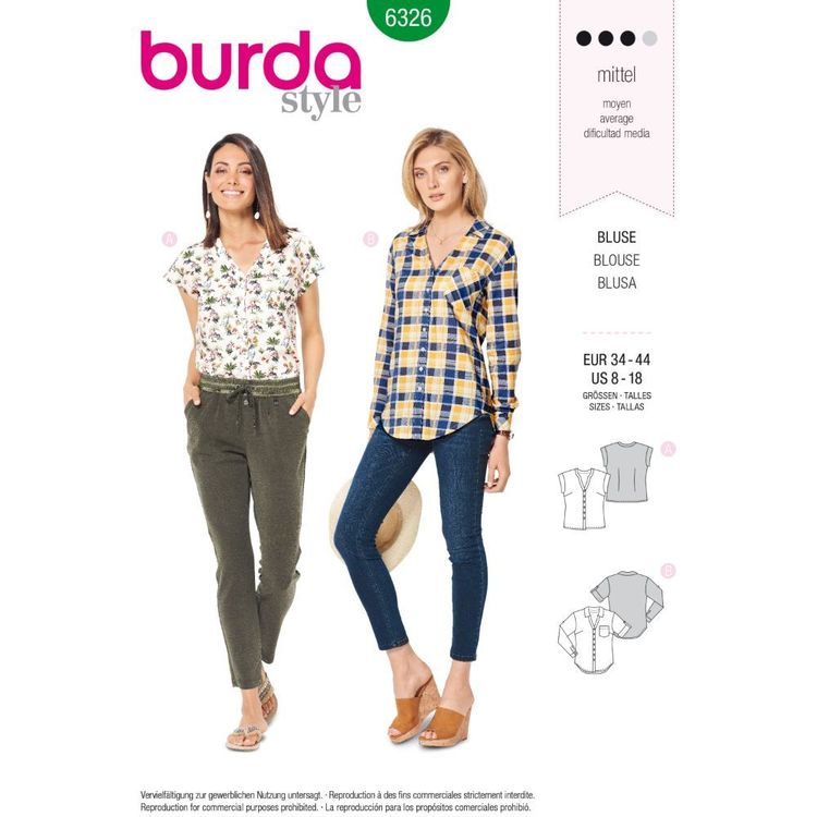 Burda Style Pattern 6326 Misses' Shirt with V Neck