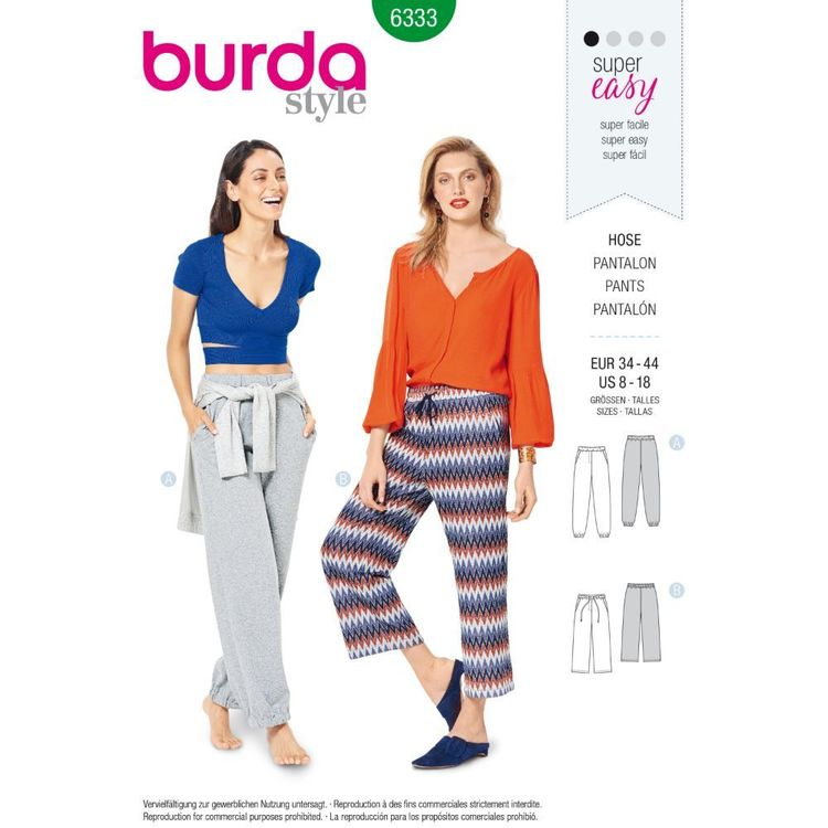 Burda Style Pattern 6333 Misses' Jogging Pant