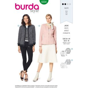 Burda Style Pattern 6334 Misses' Peplum Jacket