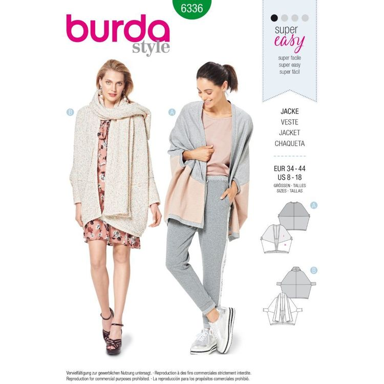 Burda Style Pattern 6336 Misses' Over-Sized Jacket