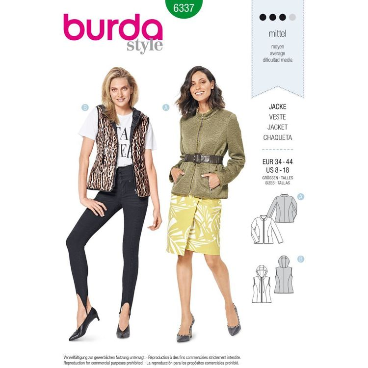 Burda Style Pattern 6337 Misses' Quilted Jacket