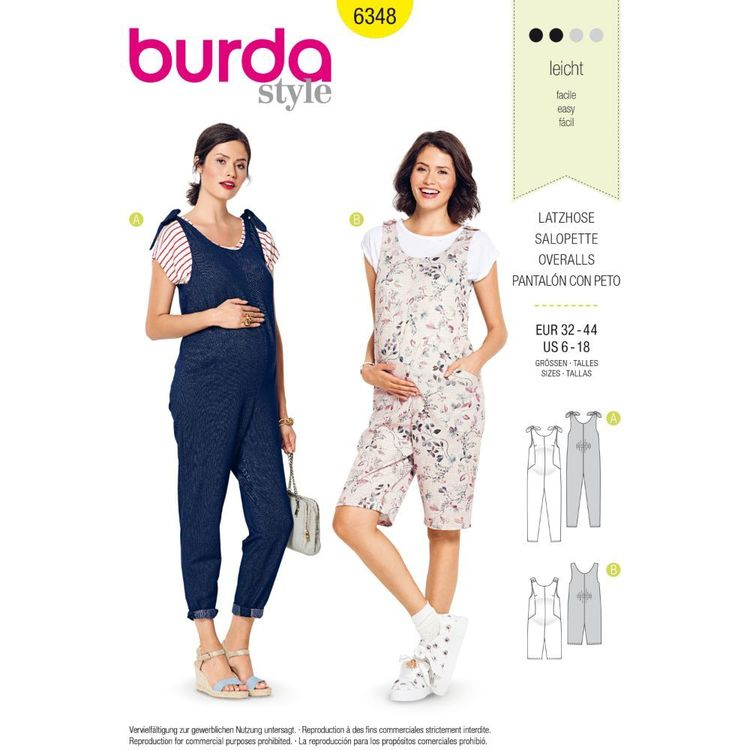Burda Style Pattern 6348 Misses' Maternity Overalls