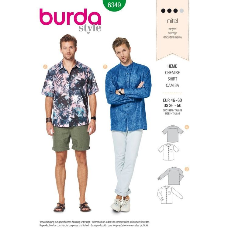 Burda Style Pattern 6349 Men's Shirt with Collar