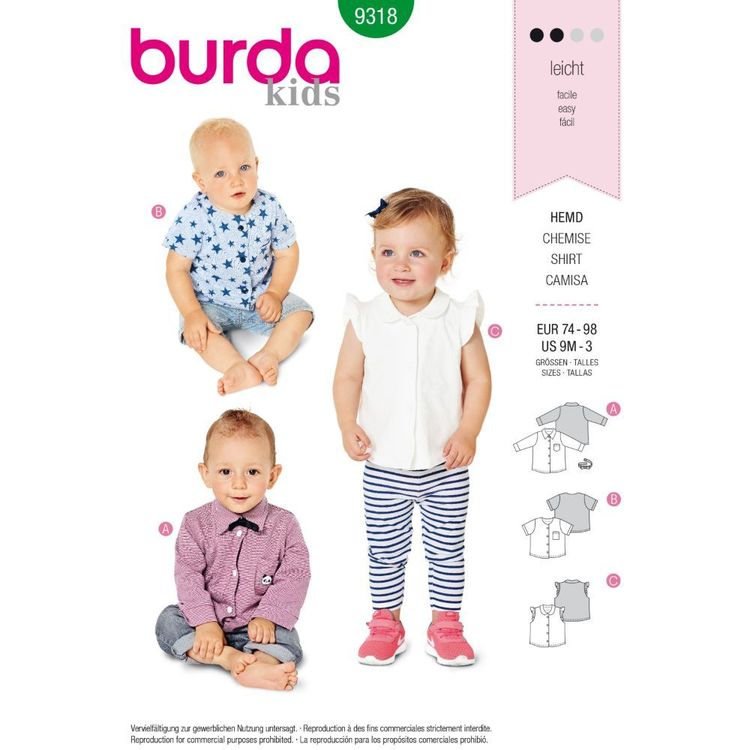 Burda Style Pattern 9318 Baby's Top with Bow Tie