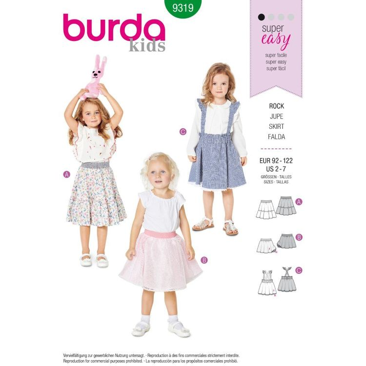 Burda Style Pattern 9319 Children's Pinafore Skirt