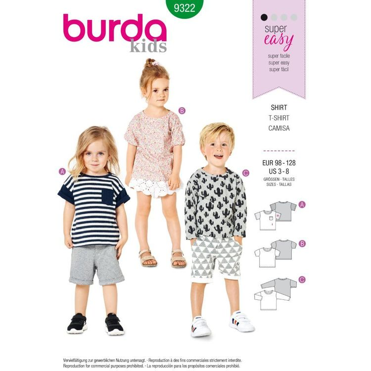 Burda Style Pattern 9322 Children's Top