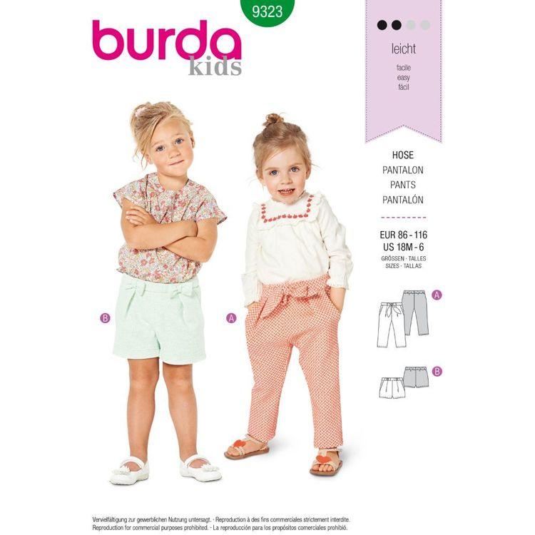 Burda Style Pattern 9323 Toddler's Elastic Waist Pants