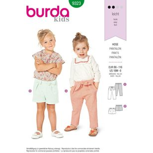 Burda Style Pattern 9323 Toddler's Elastic Waist Pants