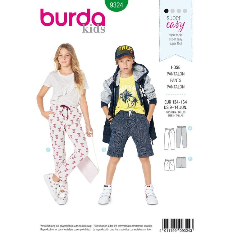 Burda Style Pattern 9324 Children's Elastic Waist Pants