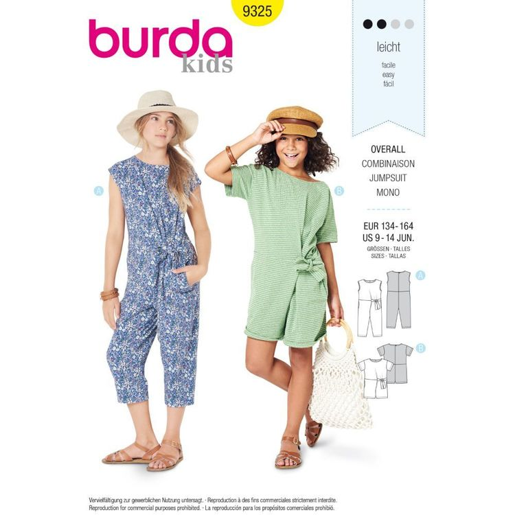 Burda Style Pattern 9325 Children's Overalls