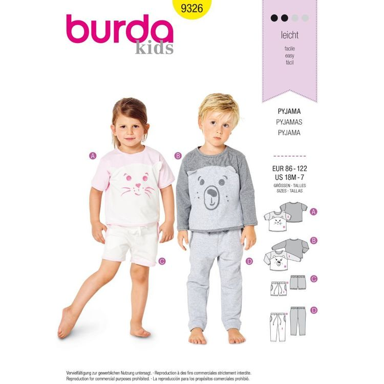 Burda Style Pattern 9326 Toddler's Sleepwear