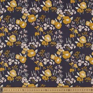 Big Mustard Printed Rayon Fabric
