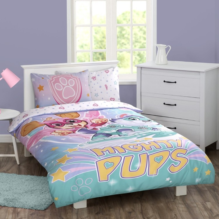 Paw Patrol Pink Mighty Pups Quilt Cover Set Pink Single