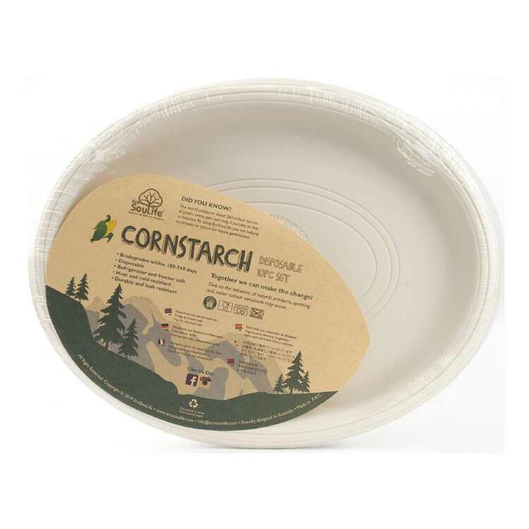 Ecosoulife Cornstarch Oval Plate 10 Pack