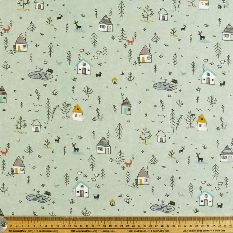 Little Houses Printed Flannelette Fabric
