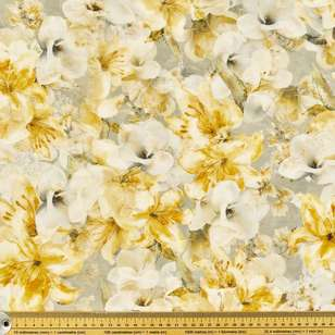 Lovely Lilies Digital Printed 148 cm Cotton Linen Fabric