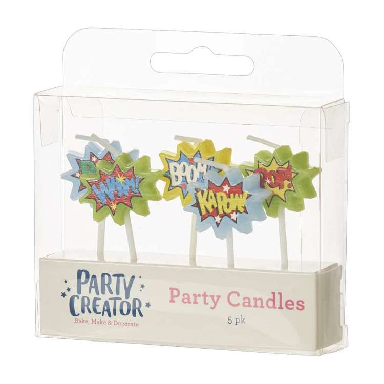 Party Creator Superhero Party Candles 5 Pack Metallic