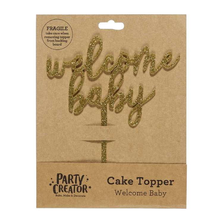 Party Creator Welcome Baby Cake Topper Gold