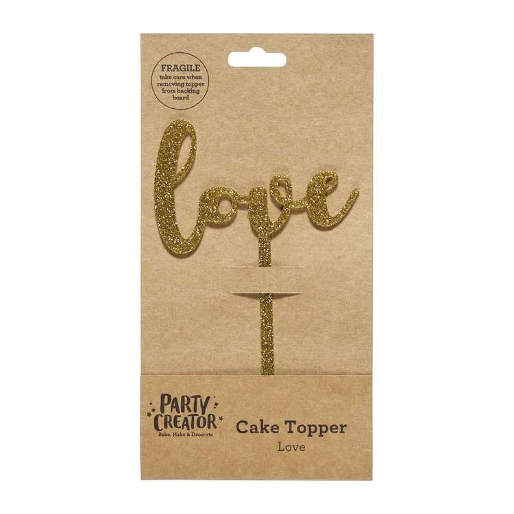Party Creator Love Cake Topper Gold
