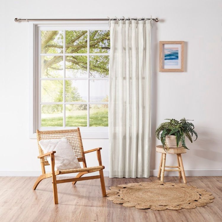 Mode Home Coastal Tie Top Sheer Curtains