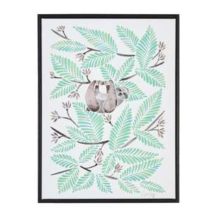 The Art Group Tag Happy Sloth Framed Canvas By Cat Coquillette