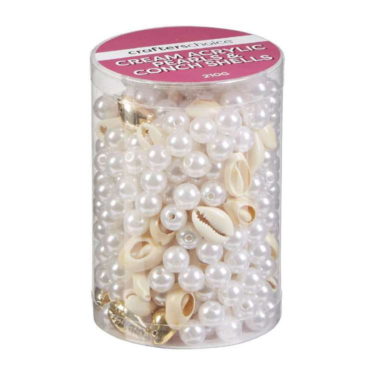 Crafters Choice Acrylic Pearl & Conch Bead In Tube Cream & Gold