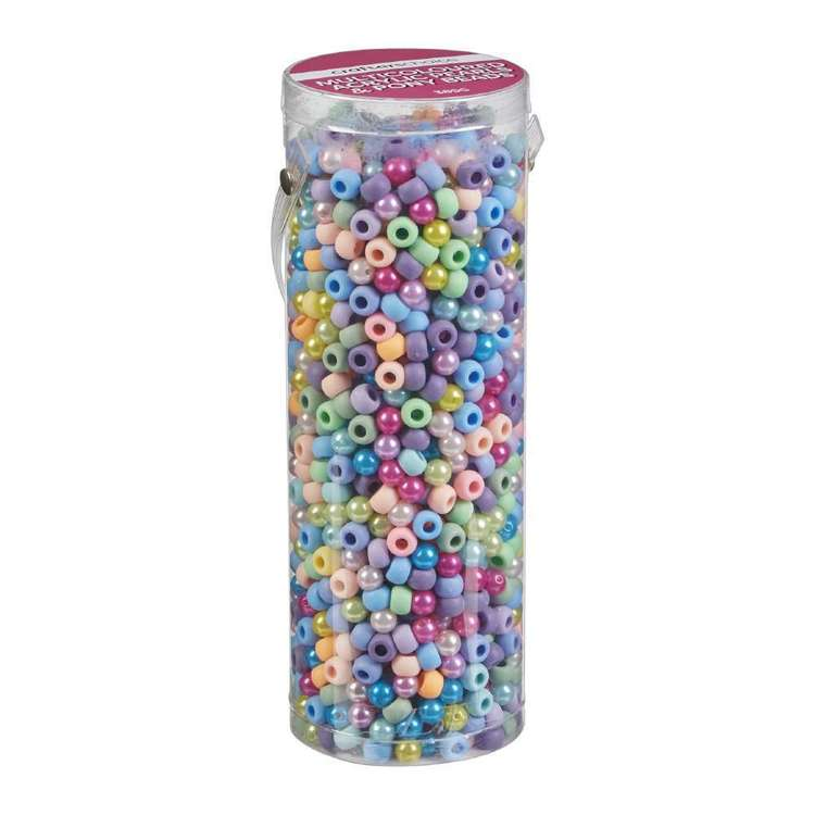 Crafters Choice Acrylic Pearl & Pony Bead In Tube Multicoloured