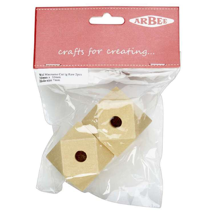 Arbee Wood Geometric Beads 2 Pack Natural 30 x 30 mm