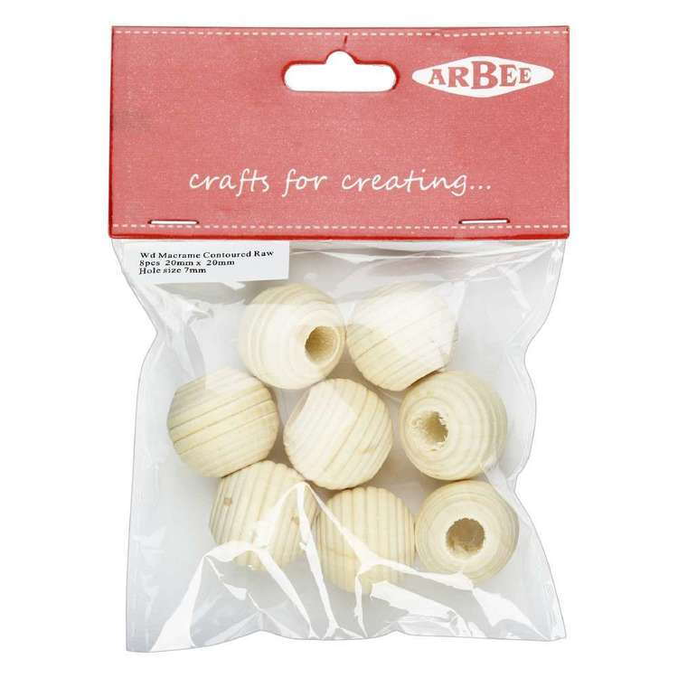 Arbee Wood Round Beads 8 Pack