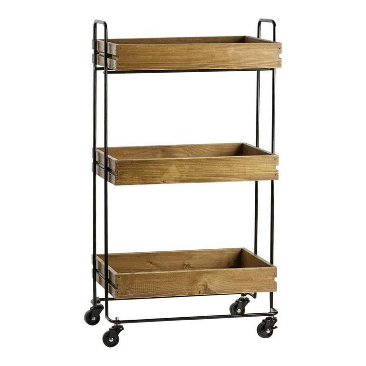 Francheville 3 Tier Wood Tray Cart