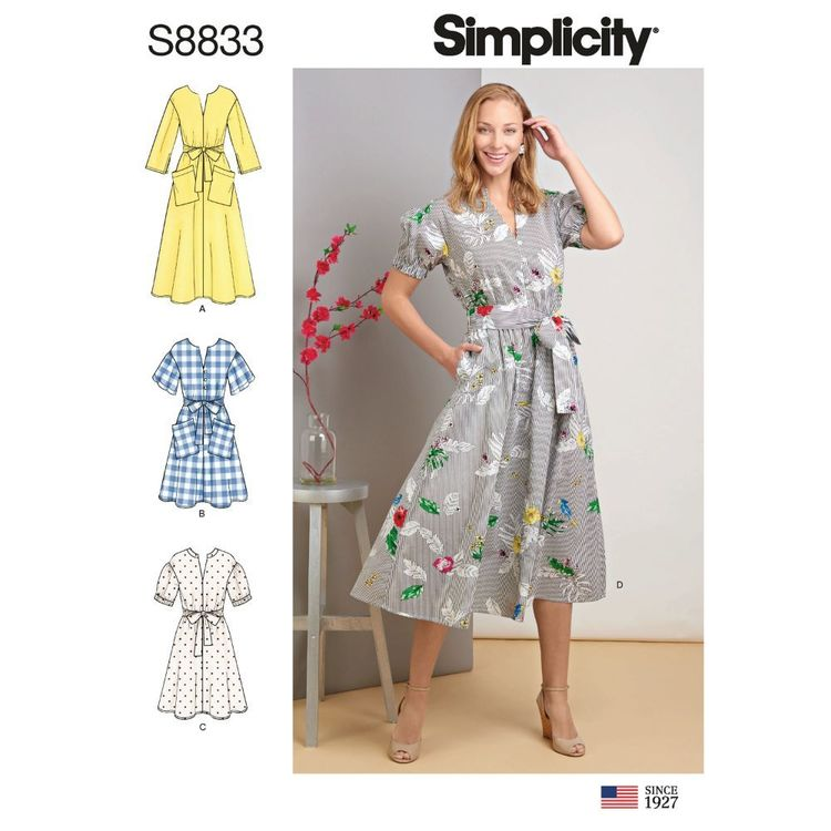 Simplicity Sewing Pattern S8833 Misses'/Miss Petite Pullover Dress